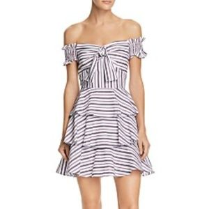 Lucy Paris Gemma Off-the-Shoulder Striped Dress